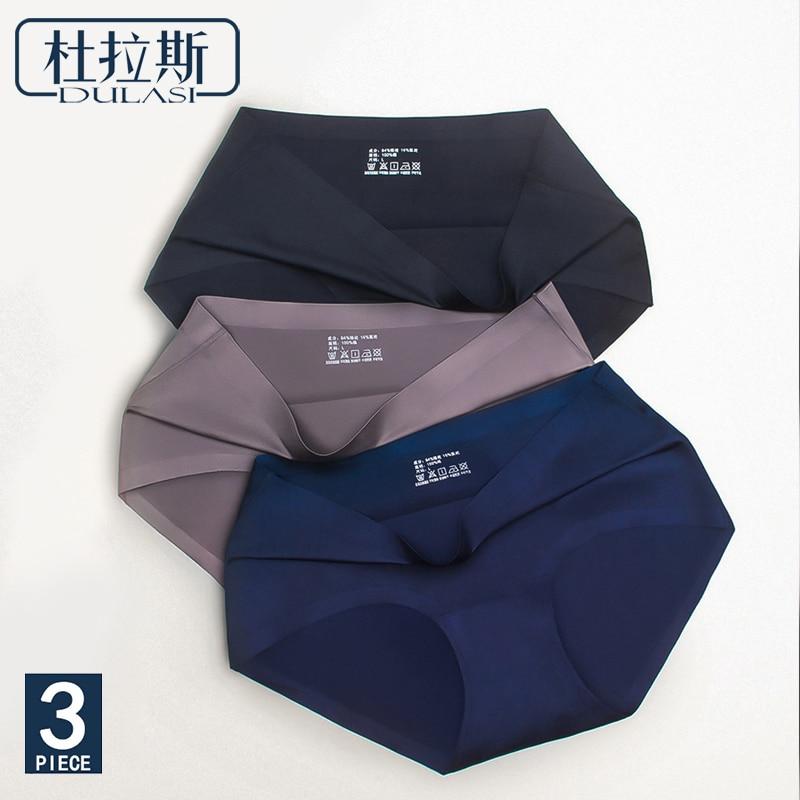3pcs/Lot, Seamless Ice Silk   Panties   Sexy Underwear Women Briefs Transparent   Panties   for Girls Bikini   Panty   Mid-Rise DULASI