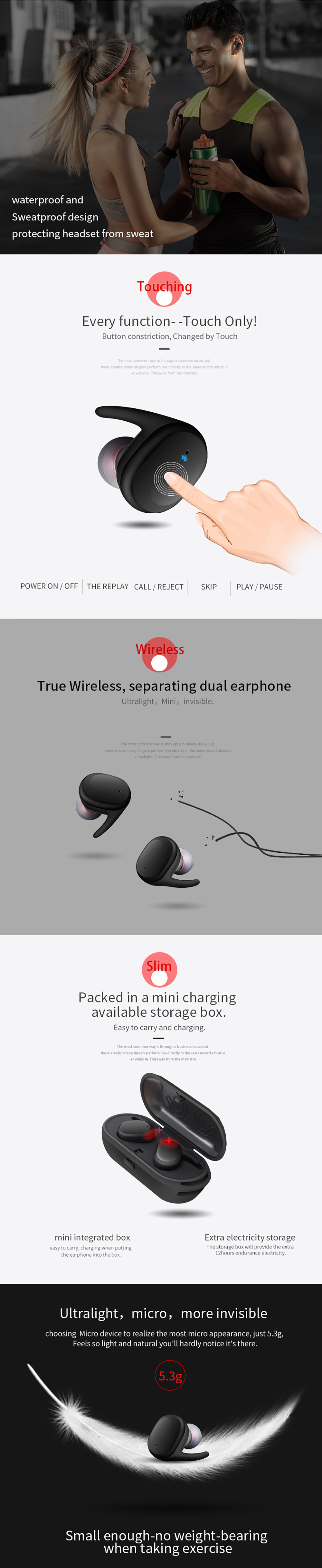 Sago Newest Wireless Eeadphones Bluetooth 5 0 Stereo HD Wireless Earbuds  With Mic Binaural Call Auto Pairing For IOS And Android