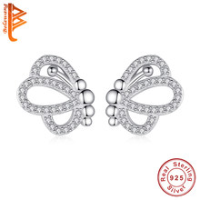 BELAWANG Genuine 100% 925 Sterling Silver Micro Pave Crystal Butterfly Stud Earrings for Women Ladies Sterling Silver Jewelry(China)