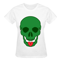 RTTMALL Cheap Price Short Sleeve Cotton skull with tongue out Womens Casual T shirt Girlfriend Loose Size M-XXL t shirts Tops