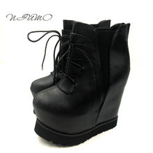 Для женщин Осенняя обувь и сапоги черные и красные ботинки на платформе обувь модная женская обувь 16 см ботинки обувь на танкетке