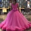 Rosa vestido de baile vestidos quinceanera 2017 v neck lantejoulas feitas à mão flores masquerad sweet 16 tulle debutante vestido com flores