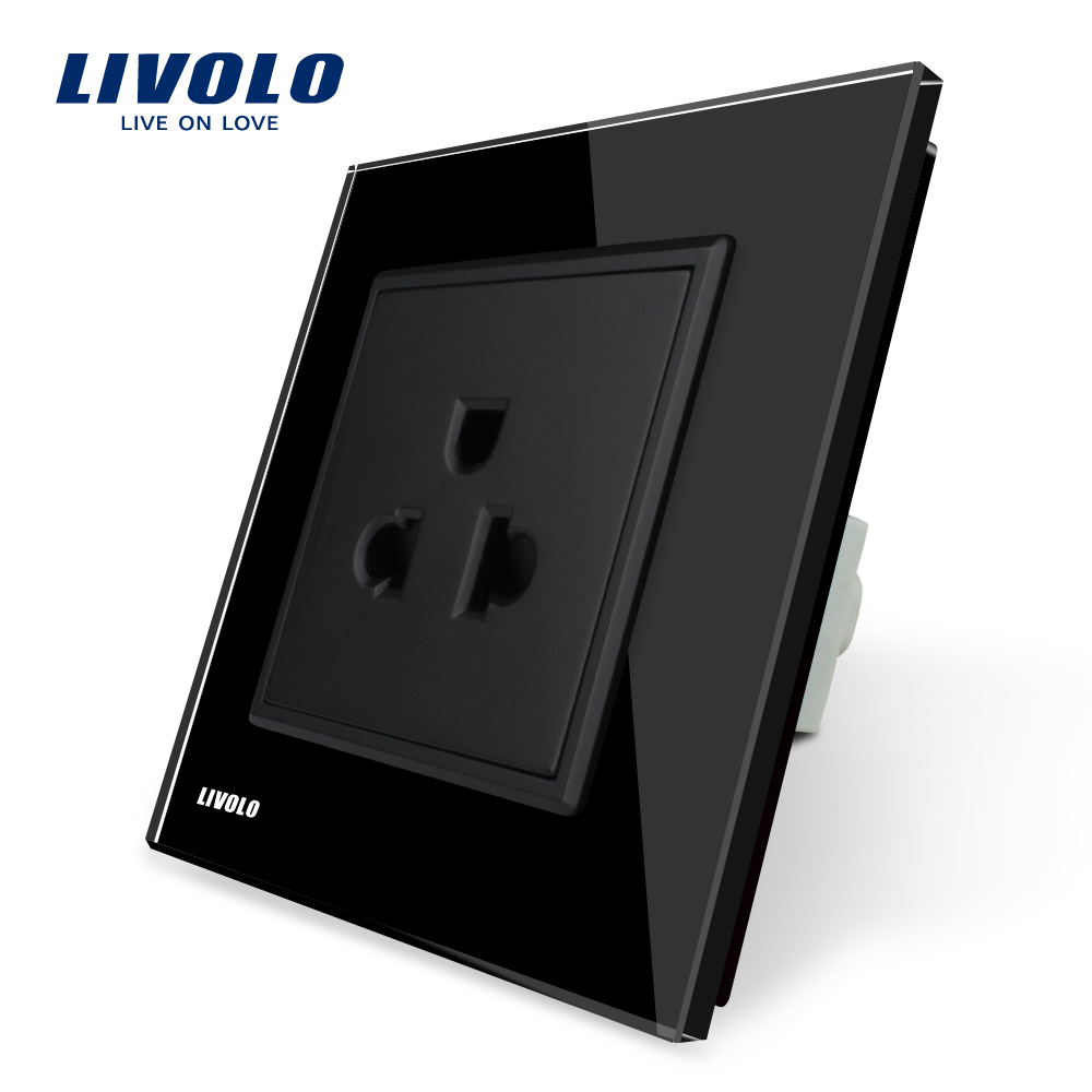 Livolo EU Standard US Power Socket, Black Crystal Glass Panel, 110 ...