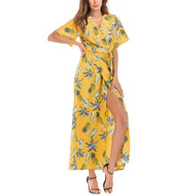 4fb86022e FeiTong V cuello vestido largo abrigo mujeres piña imprimir beach maxi  vestido de verano 2018 Casual