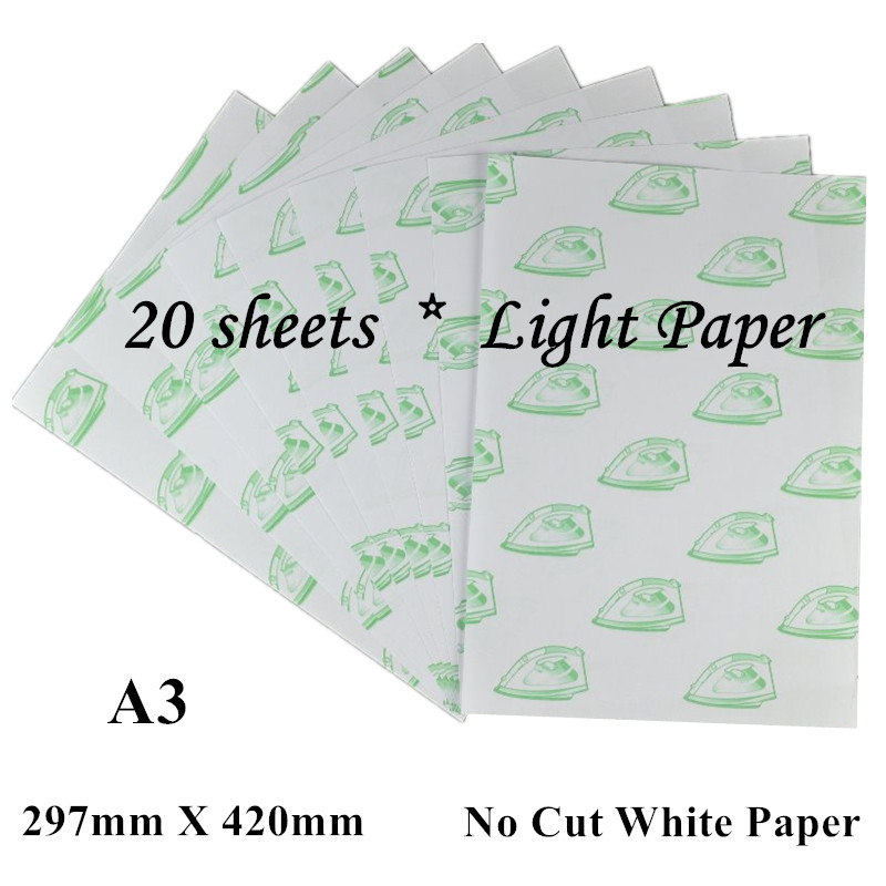 (A3*20pcs) Self Weeding Paper Laser Heat Transfer Printing Paper For T Shirts White Light Color Thermal Transfers Papel No Cut