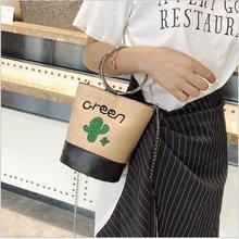 купить 2018 Summer Fashion Korea Style Bucket Straw Bags Barrel-Shaped Woven Women Crossbody Bags Circle Metal Handle Shoulder Tote Bag дешево