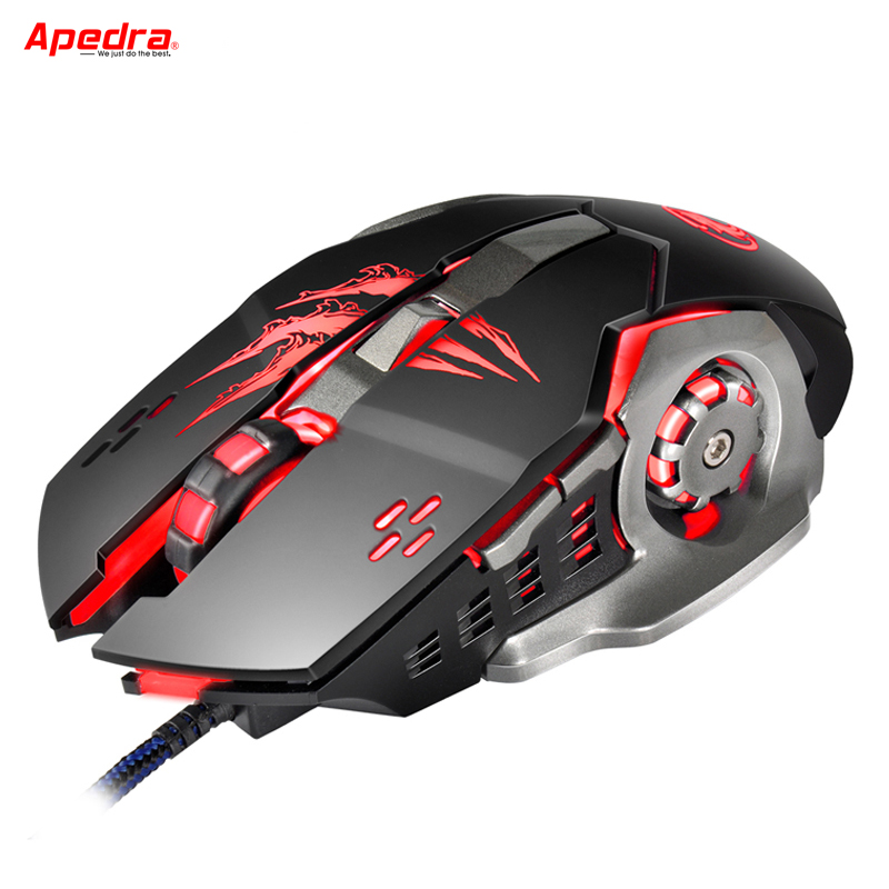 Apedra A8 Ny Wired Gaming Mouse Professionell Makro Program Gamer 6 Knappar USB Optisk Dator Spel Möss För PC Laptop Skrivbord