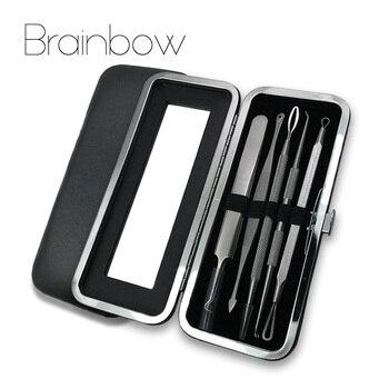 Brainbow 5pc/Bag Blackhead Tweezers Spot Cleaner Blackhead&Blemish Removers Pimples Extractor Acne Treatment Facial Pore Cleaner