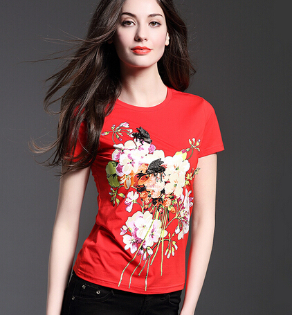 Womens Tops Fashion 2017 Summer Beaded Small Insects Bee Flower Print Cotton T-shirt Femme RM-202
