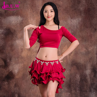 BUW Girls belly dance clothes set Women belly dancing clothes short sleeves top+skirt 2pcs belly dance suits 8078