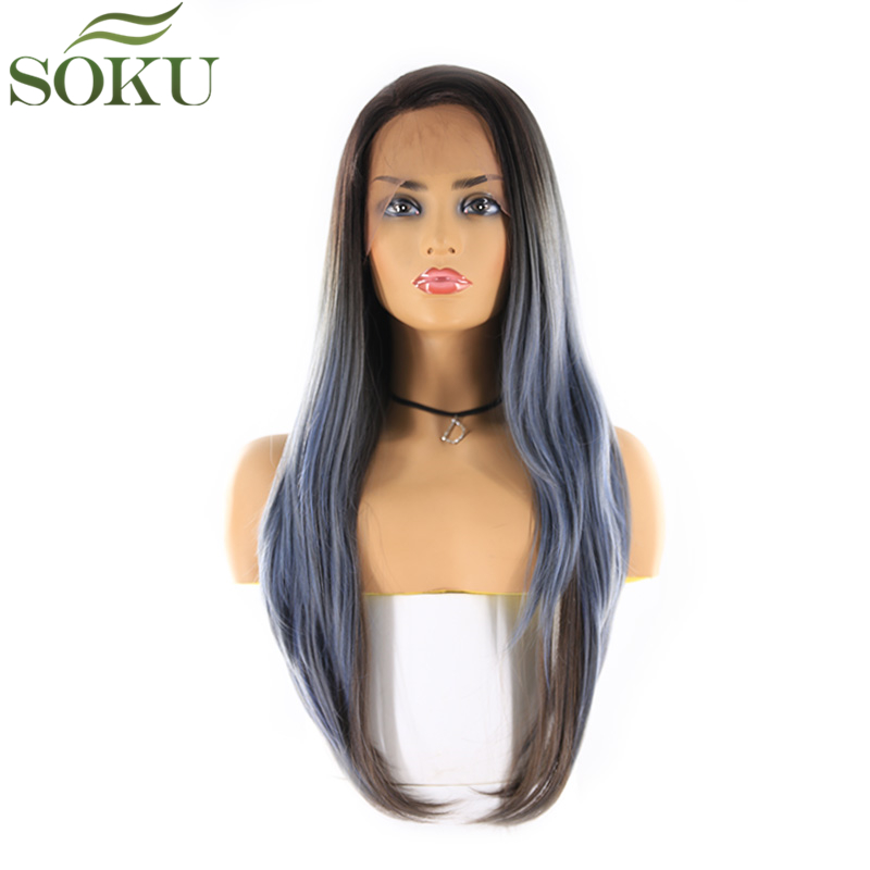 SOKU Synthetic Lace Front Wigs 26 Inch Long Straight 13*4 Lace frontal Free Part Wig Glueless Heat Resistant Fiber Wig For Women