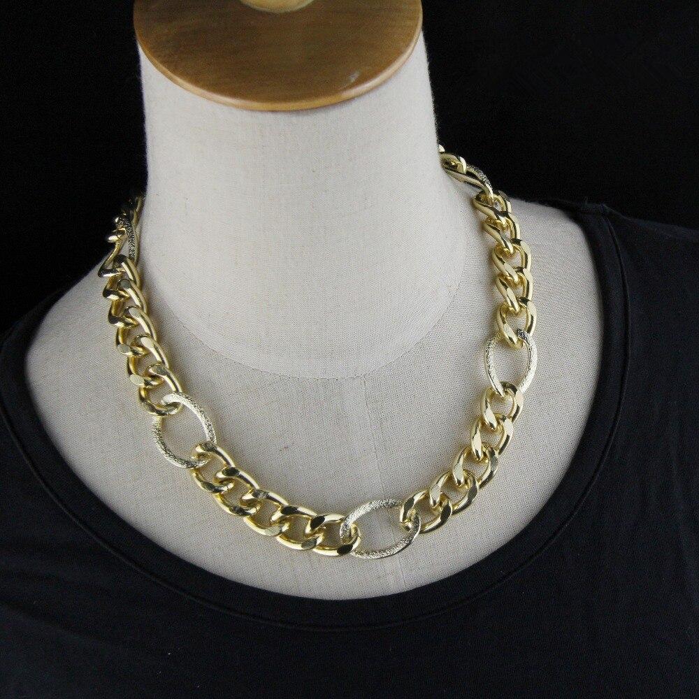 ᗕCirgen moda oro color aluminio metal pesado cadena declaración ...