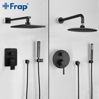 FRAP black bathroom shower faucet brass set rainfall shower head set mixer taps bath tub faucets waterfall Bath Shower system