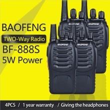 4 pièces Baofeng BF 888S talkie walkie 888s UHF 5W 400 470MHz BF888s BF 888S Radio bidirectionnelle