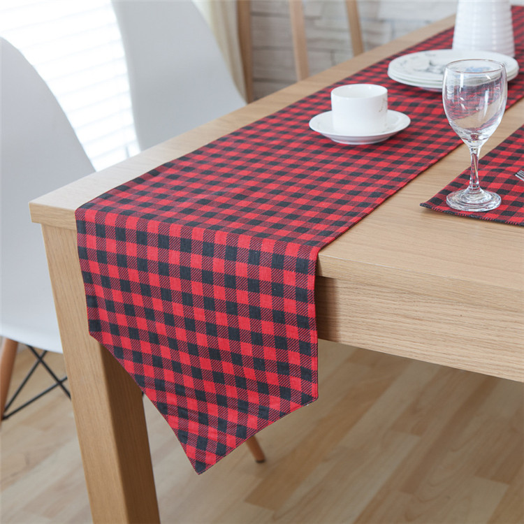 Red And Black Kitchen Decor: Black And Red Plaid Table Runners Kitchen Accessories