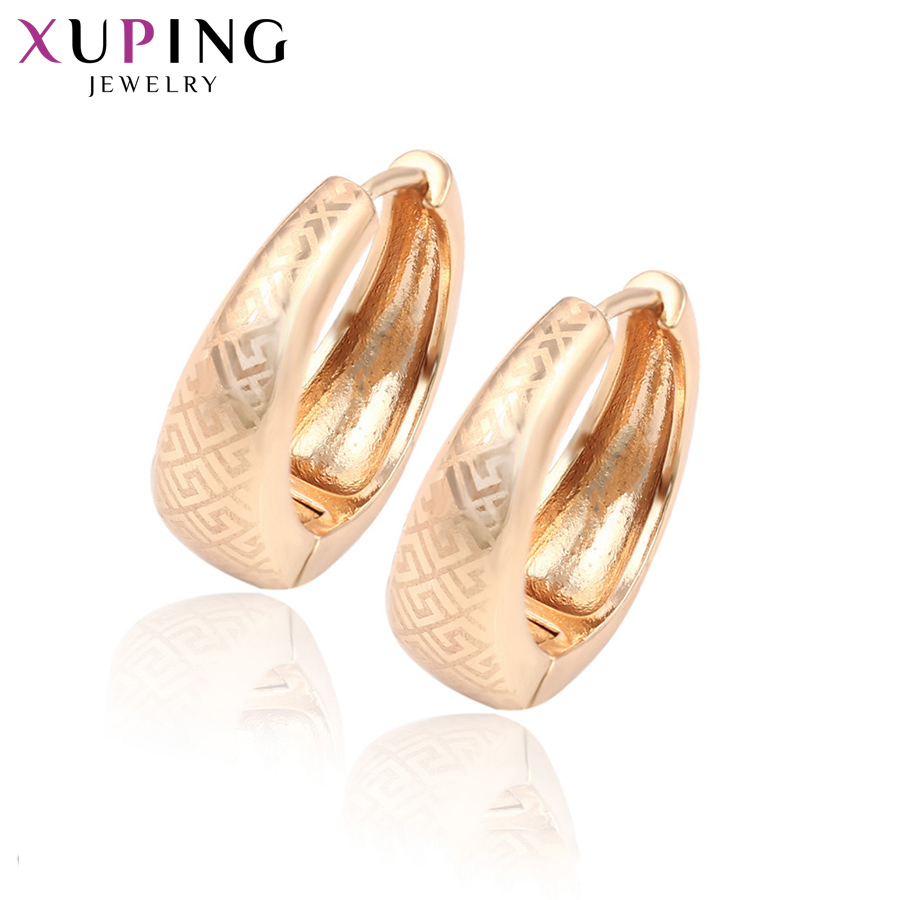 Xuping Jewelry Popular New Hollow Shape Hoops Pattern Design Gold-Color Plated Earrings  For Women Gift S120-29323