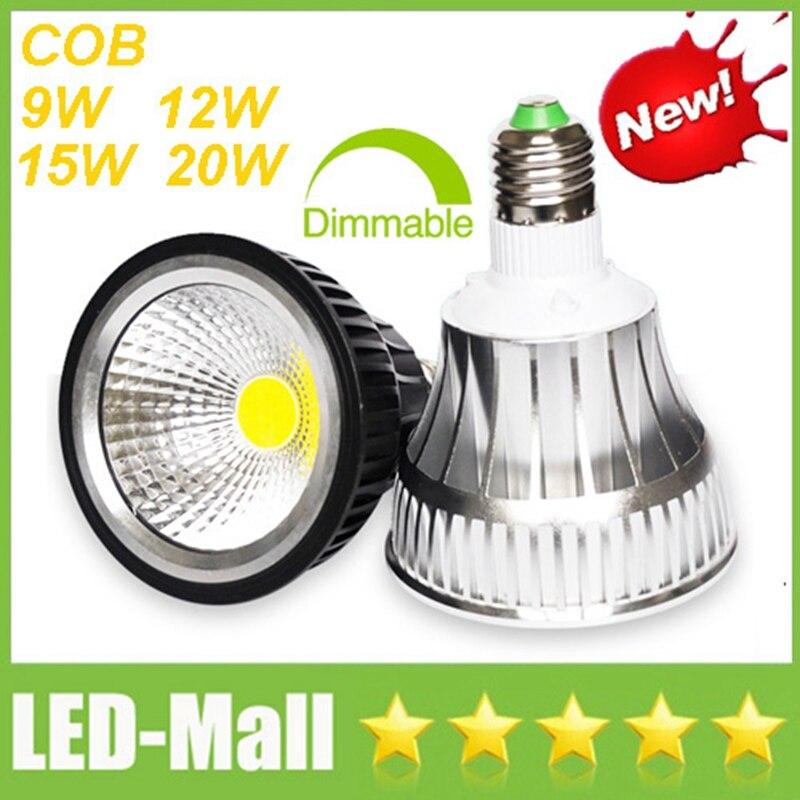 PAR30 Par20 CREE COB 9W 12W 15W 20W Dimmable LED Spotlights E27 Spot Lights display Lampada Bulbs Lamps Warm/Cool/Natural white warranty 2 years e27 par30 30w led bulbs light no dimmable110v 220v warm cool white led spotights
