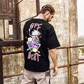 Do T-shirt curto-shirt Dos Homens Marca de Moda Preto Big Impresso Manga Curta Camisetas Hip hop Punk Rock Tees Tops XL skates Kanye