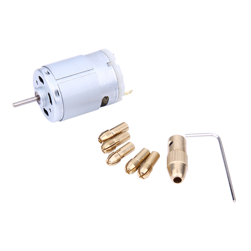 Electric Hand Drill Mini Small 12V Motor and 0.8-1.5mm Twist Drill Rotary Motor Drilling Tools Model Electric Drill Sets autotoolhome mini dc 12v electric motor for wood pcb hand drill press drilling 0 5 3mm twist bits and jto chucks bracket stand