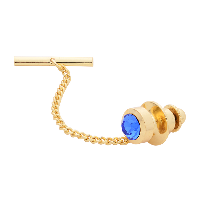 9 Colors Classic Round Czech Crystal Collar P Copper Clutch Tie Tack Pins Chain Pins