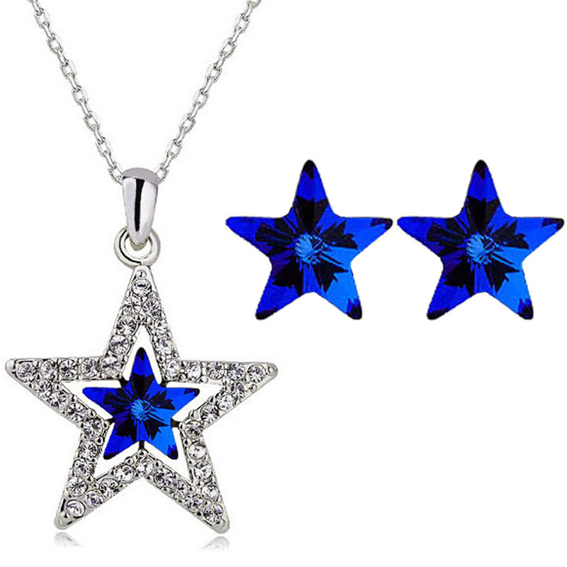 quality Austrian Crystal five pointedtars pendant necklace earring fashion jewelry setlovers gift charms women