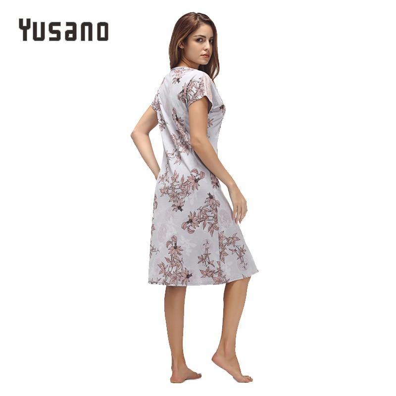 Image 3 - Yusano Women Nightgown Cotton Nighty Lace Nightshirt Short Sleeve Nightdress O Neck Homeweara Clothes Flora Print Sleep Dress-in Nightgowns & Sleepshirts from Underwear & Sleepwears