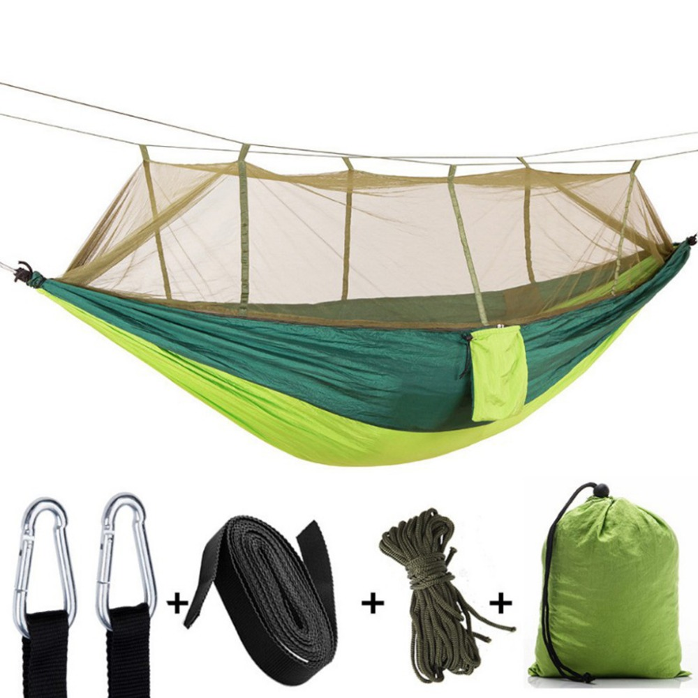 Outdoor Parachute Cloth Hanging Hammock With Mosquito Net Ultra Light Nylon Aarmy Green Camping Aerial Tent Hammock 260x140cm