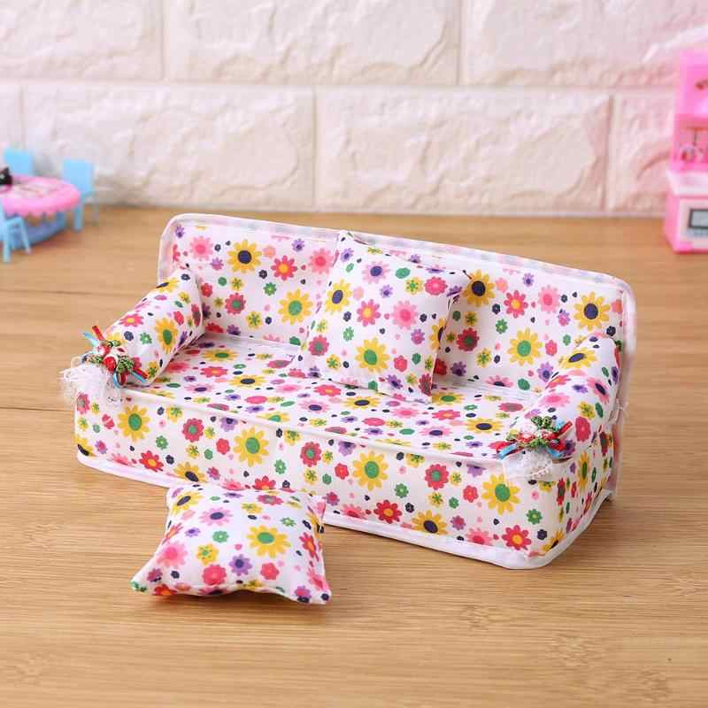 Baby Sofa Cushions Model For Doll Sponge Fl Printed Accessories Kids Pretend Playing House
