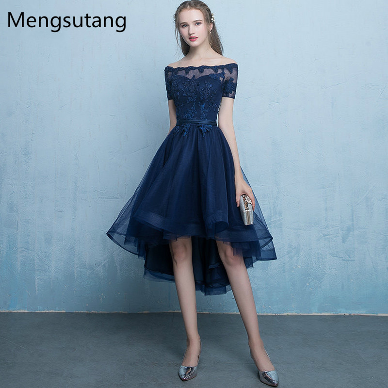 Robe De Soiree Navy Blue Lace Up Vestido De Festa Evening Dress With Appliques Short Front Long Back Party Dresses Prom Dresses