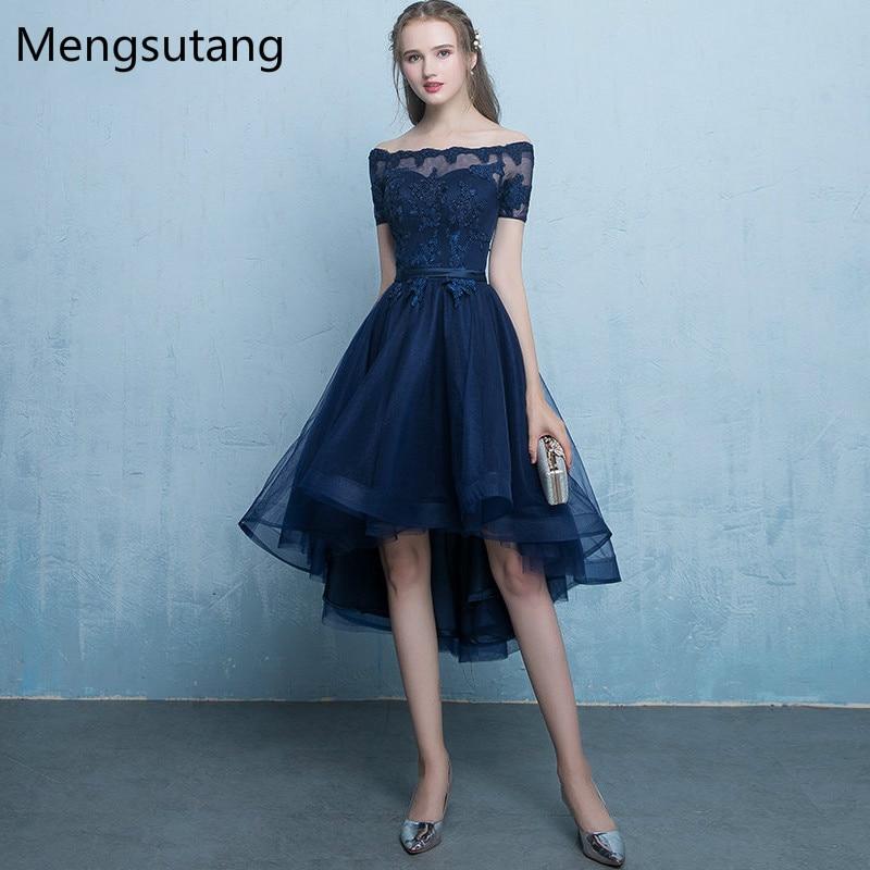Robe de soirée bleu marine à lacets vestido de festa Robe de soirée avec Appliques courte devant longues robes de soirée dos robes de bal