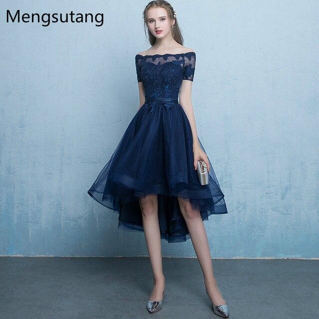 Халат De Soiree Темно-синие на шнуровке Vestido De Festa вечернее платье с аппликациями короткое спереди и длинное сзади Платья для вечеринок платья для выпускного вечера