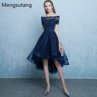 Robe de soiree Navy Blue lace up vestido de festa evening dress with Appliques Short Front Long Back Party Dresses prom dresses