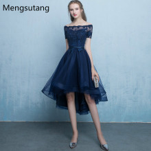 Robe de soiree Navy Blue lace up vestido de festa evening dr