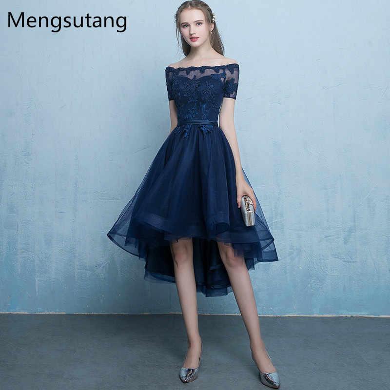 bda47df81c18022 Вечернее платье темно-синего цвета на шнуровке vestido de festa с  аппликацией, короткое спереди