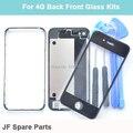 Черный белый задняя крышка замена + переднее стекло объектива ближнего шатона рамки для iPhone 4 4 г передняя заднее стекло рамка шатона + бесплатные инструменты
