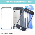 Black White Back Cover Replacement+Front Glass Lens+Middle Frame Bezel For iPhone 4 4G Front Back Glass Bezel Frame+Free Tools