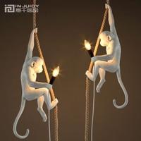 Loft Vintage Resin Hemp Rope Monkey Pendant Lights Industrial Retro E14 Edison Pendant Lamp for Dining Room Bedroom Bar Gift