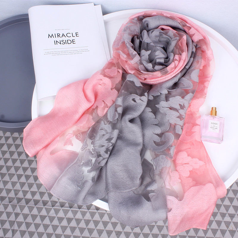 2018 new women silk Gradient   scarf   for ladies winter autumn pashimina   scarves   female   wrap