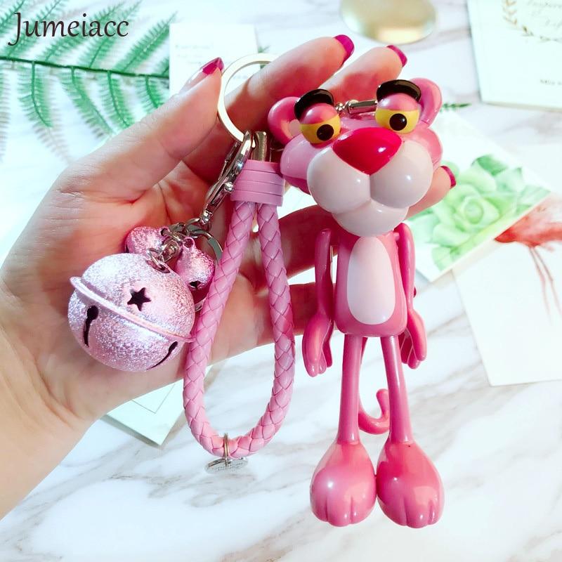 цена на Cartoon Cute Car Pink Panther Keychain Leather Rope Key Holder Metal Bell Key Chain Keyring Charm Bag Auto Pendant Keychains