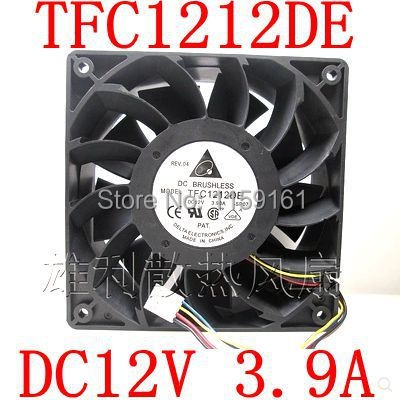 Free Shipping  TFC1212DE DC12V 3.9A  12038 12x12X38mm  wind volume ultra violent cooling fan computer water cooling fan delta pfc1212de 12038 12v 3a 12cm strong breeze big air volume violent fan