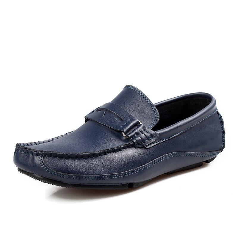 Hommes Cuir Ngouxm Air Respirant Automne on De Mocassins Mode Main Sport marron blanc bleu Solide Noir Slip En Homme Plein Printemps Chaussures Noir 85r8zq