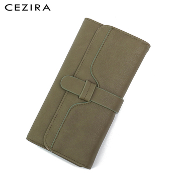 CEZIRA Long Wallet Buckle Ladies Wallets Female Clutch Credit Card Holders Cellphone Multi Pockets Purse Faux Leather Wallets