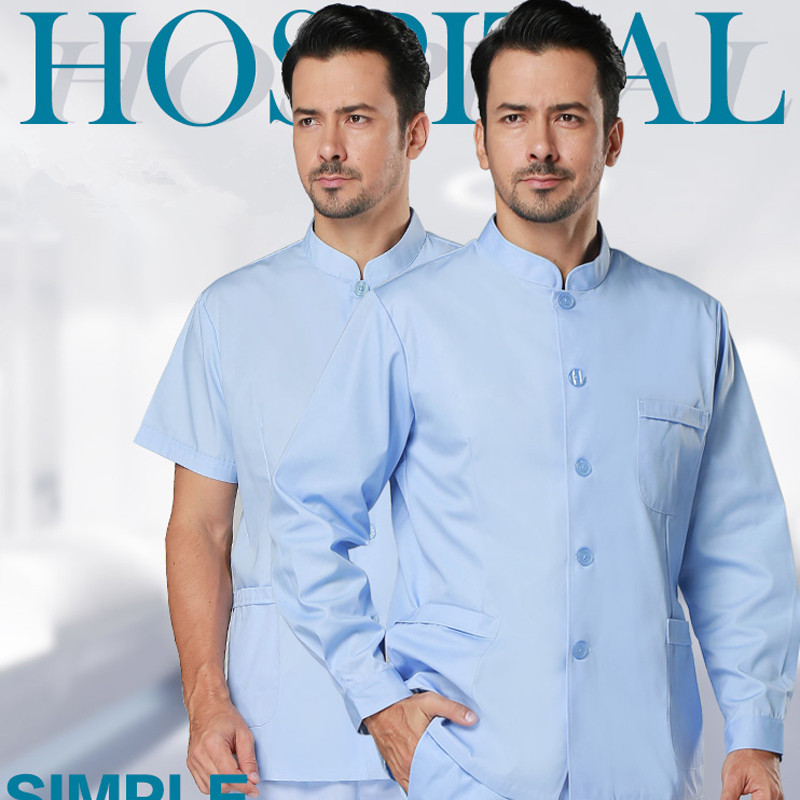 Hospital & Dental Clinic Female Male Doctor Nurse's Tops Surgical Isolation Gown Frosted Shirt,Nurse Medical Uniform Scrub Top