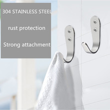 304 Stainless Steel Brushed Silver Coat Hook Bathroom Accessories Wall Hooks Bathroom Hardware Sets colgadores para pared
