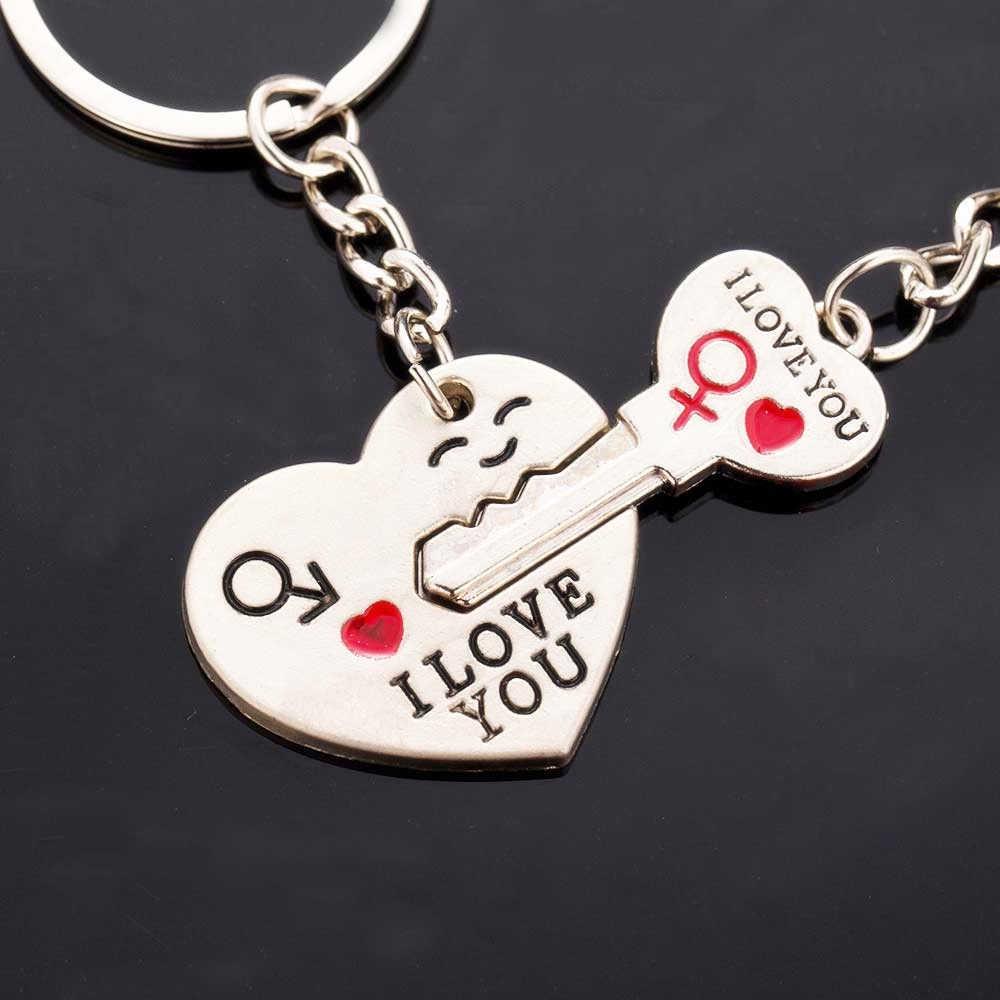2 Cái/bộ Thời Trang Trái Tim Chìa Khóa Màu Bạc Chữ I LOVE YOU Cặp Đôi Dây Chuyền Chìa Khóa Hình Trái Tim Trang Sức Valentine ngày Của Quà Tặng