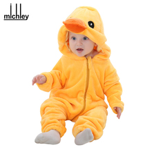 MICHLEY Spring Autumn Baby Clothes Flannel Baby Boys Clothes Cartoon Animal Jumpsuits Infant Girl Rompers Baby Clothing XYZ15088
