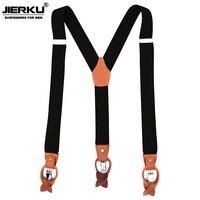 JIERKU Suspenders Man S Braces Genuine Leather Suspenders 3Clips Suspensorio Fashion Trousers Strap Father Husband S