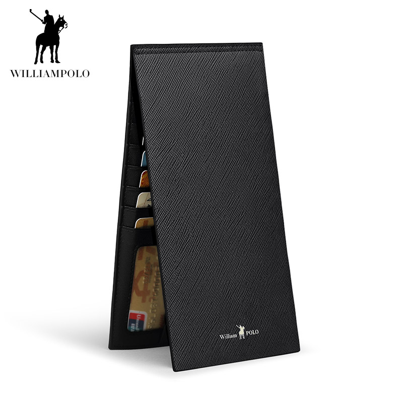 WILLIAMPOLO 2018 Fashion Leather High Quality 15 Card Wallet Men Travel Pouch Card Pocke ...
