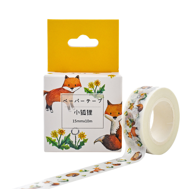 Box Package Kawaii Little Fox Washi Tape Excellent Quality Colorful Paper Masking Tape DIY Decorative Tapes 10m*15mm JD95-1