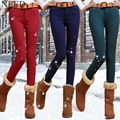 2017 Winter Warm Jeans For Women Mid Waist Candy Color Thick Fleece Jeans With Velvet  Plus Size